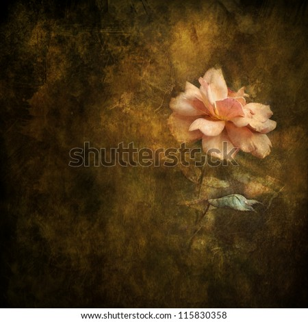 Combination photography, paint and digital compositing in Photoshop. Peach colored rose against an Renaissance-style painterly background. Romantic feeling, good for background.