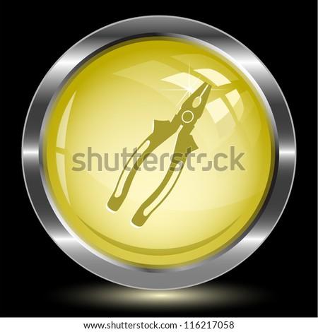 Combination pliers. Internet button. Raster illustration. - stock photo