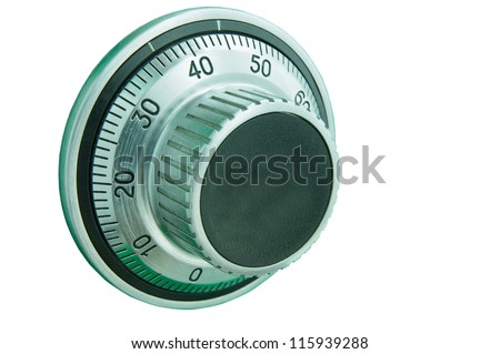 Combination safe lock dial with isolated white background