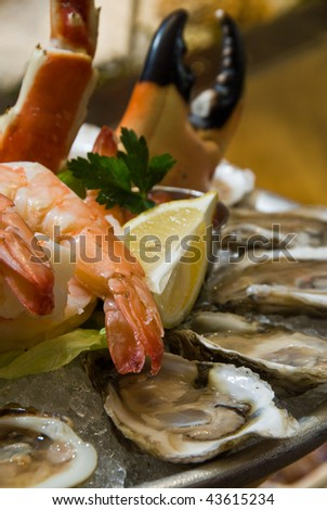 Combination seafood platter on ice, up close - stock photo