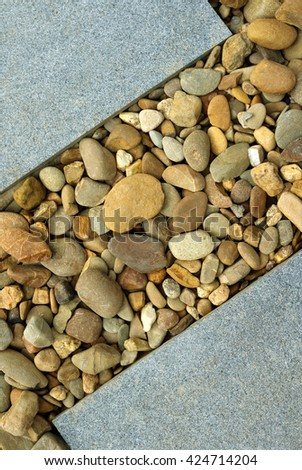 Combinations of Paving and Rocks modern landscape design - stock photo