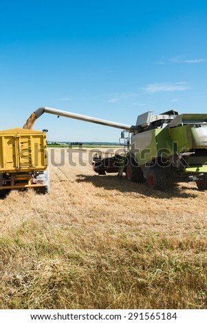 combine harvester agriculture machine emptying wheat tank in tractor trailer - stock photo