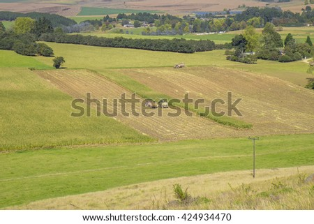 Combine harvester and tractor harvest maize crop for silage, aerial view - stock photo