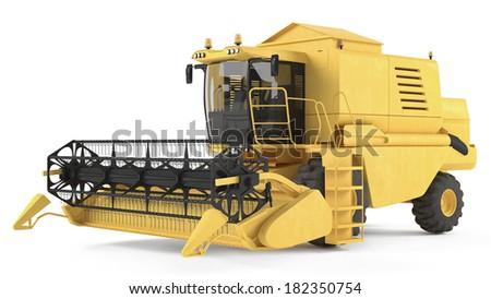 combine-harvester isolated - stock photo