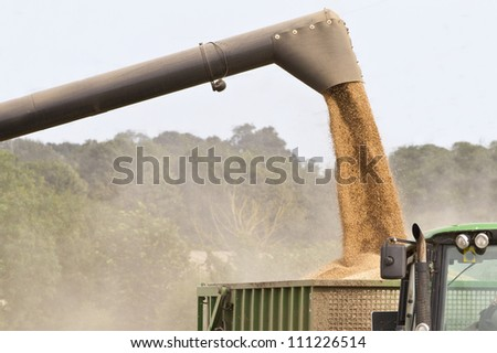Combine harvester offloading grain into a wagon - stock photo