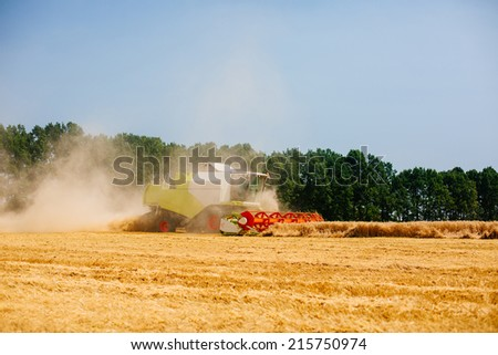 combine harvester on a wheat field - stock photo