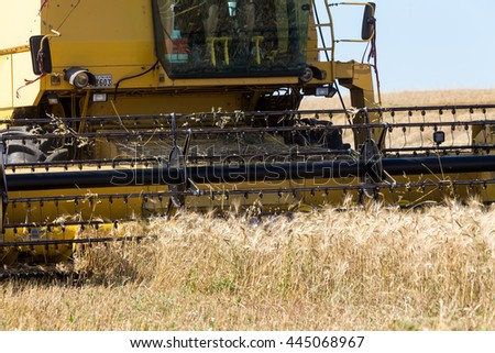 Combine harvester on a wheat field.