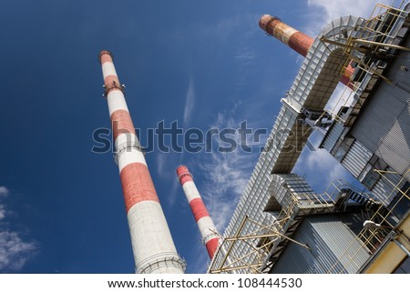 combine heat and power station in Lodz, Poland - stock photo