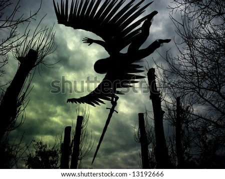 Combined 3D render and photography of an angel with wings and sword, forest and dark clouds.