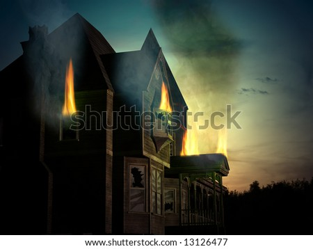Combined 3D render and photography of an old, abandoned wooden house with fire and smoke in the sunset - stock photo