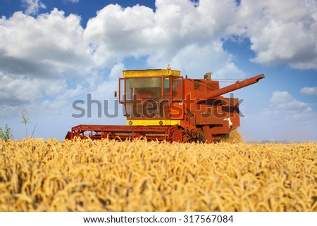 Combined harvester working in the field - stock photo
