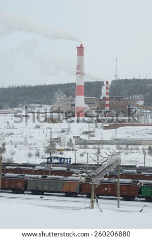 Combined heat and power source and Railway - stock photo