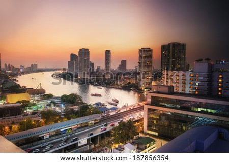 Combined image showing light change during sunset in Bangkok. This image made from 45 different shots taken during 2 hours. - stock photo