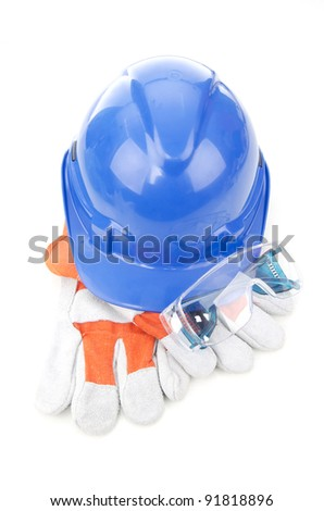 Combined of three item personal protective equipment (PPE) isolated on white background. - stock photo