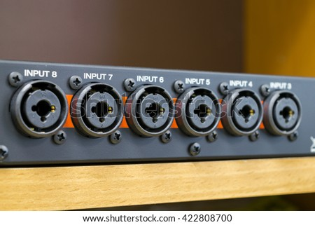 Combined XLR and jack connectors - stock photo
