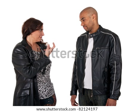 Come here! Mature woman trying to attract a young guy with a finger gesture.