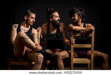 Comedy actors having fun during their show at the circus - stock photo