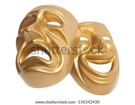 Comedy and Tragedy theatrical mask isolated on a white background - stock photo
