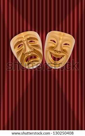 Comedy and tragedy theatrical mask on a curtain - stock photo