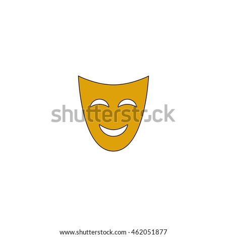 comedy mask Flat yellow thin line pictogram on white background. Illustration icon