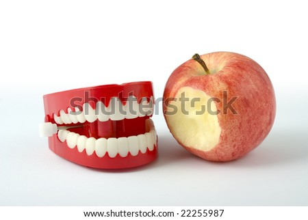 Comedy wind-up chattering teeth isolated on white with clipping path