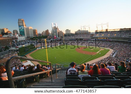 Comerica Park, Detroit, Michigan, USA - 4 Jul 2010 view from the seat in Comerica Park home of baseballs Detroit Tigers at sunset time