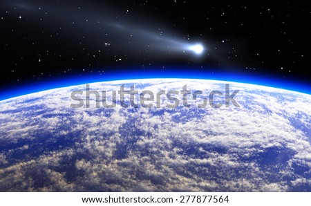 Comet and blue Planet Earth, illustration - stock photo