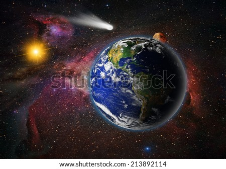 "comet and space landscape ""Elements of this image furnished by NASA ""  - stock photo"