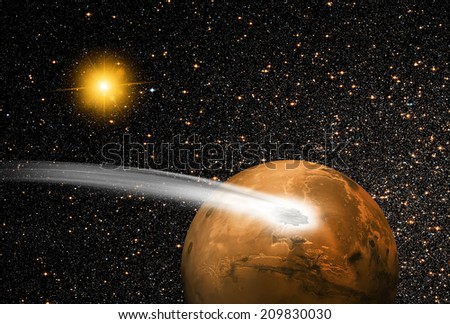 """comet C/2013 A1 over the Martian landscape""""Elem ent s of this image furnished by NASA """" - stock photo"""