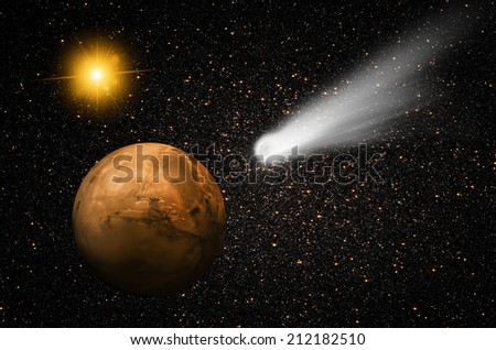 "comet C/2013 A1 over the Martian landscape""Elements of this image furnished by NASA ""  - stock photo"