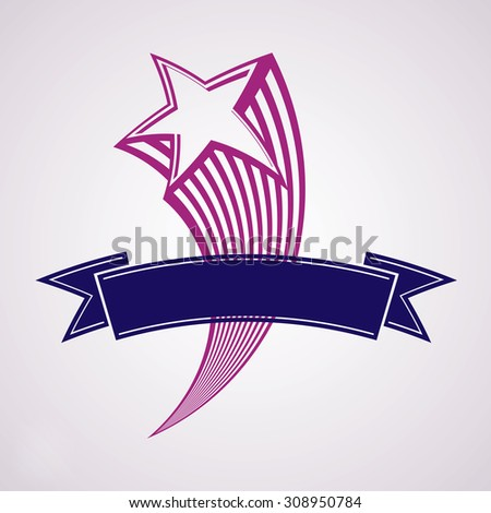 Comet, 3d flying star with decorative ribbon. Military stylized icon. festive classic graphic design element. - stock photo