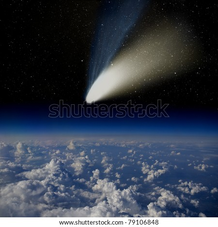 Comet impact. Comet Hale-Bopp above the Earth's surface. - stock photo