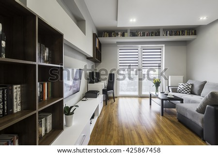 Comfortable and modern apartment with a lot of books