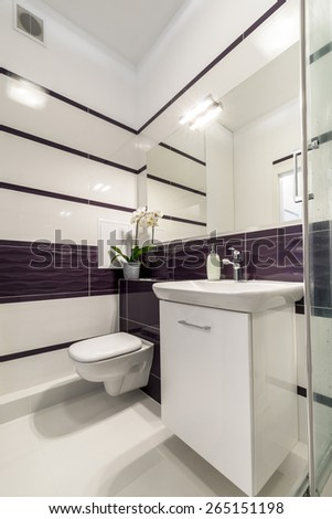 Comfortable bathroom in white and violet style