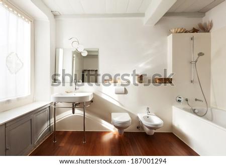 comfortable bathroom, interior of a nice loft - stock photo
