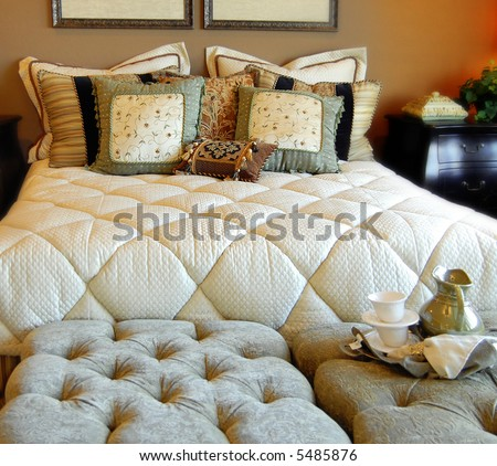 Comfortable bedroom interior design - stock photo