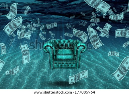 Comfortable Chair and US Currency - stock photo