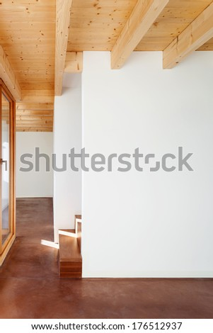 comfortable empty loft, interior, white wall