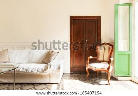 comfortable living room, interior of a nice loft - stock photo