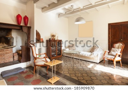 comfortable living room, interior of a nice loft - stock photo