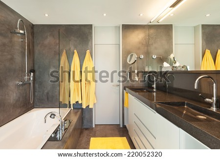 Comfortable marble bathroom of a modern house  - stock photo