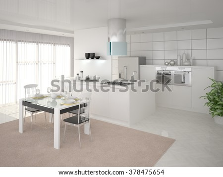 Comfortable modern kitchen in the style of minimalism, 3d rendering. - stock photo