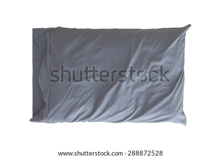 Comfortable soft pillow in a wrinkled grey pillowcase for protection and hygiene isolated on white - stock photo