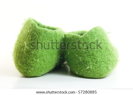 Comfortable wool home shoes - stock photo