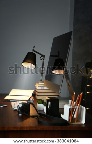 Comfortable workplace with modern computer - stock photo