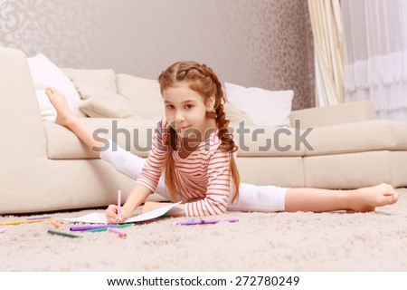 elementary girl with legs apart