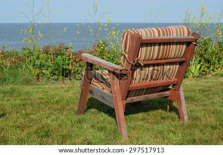 Comfy looking chair overlooking the waters off Baker's Island off the coast of Beverly, Massachusetts