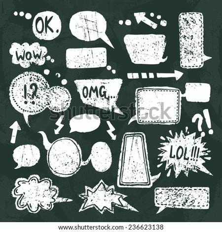 Comic blank text speech bubbles chalkboard decorative icons set  illustration - stock photo