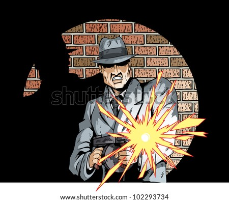 Comic book drawing of a gangster with a tommygun - stock photo