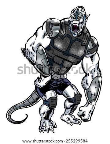 Comic book illustrated alien gorilla character with a tail